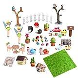 EQLEF Paysage Miniature, Mini fée Jardin Accessoires Ornements Miniatures pour Bricolage Dollhouse Paysage Decor 39 Pcs