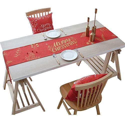 Kungfu Mall - Camino de mesa para decoración navideña, diseño de Navidad, color rojo y dorado, de 180 x 30 cm