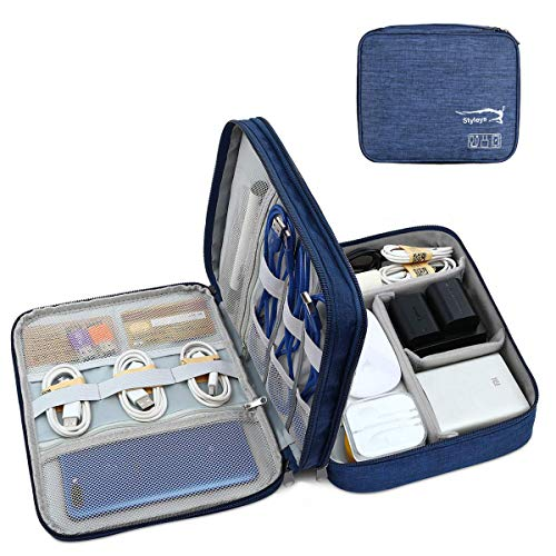 Styleys Double Layer Gadget Organizer Case, Portable Zippered Pouch for All Gadgets, HDD, Power Bank, USB Cables, Power Adapters, etc (Navy Blue – S11029)