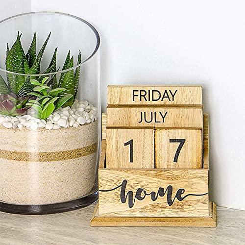 CHENYI Calendario perpetuo de escritorio de madera retro, Elegante calendario de escritorio eterno, Exhibición, Decoración de la oficina, Hogar