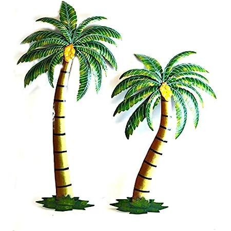 SET OF 2 PALM TREE METAL COLORFUL WALL ART NAUTICAL PATIO HOME DECOR