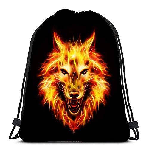 Ahdyr Mochila con cordón Bolsas Deportes Cinch Head of Agresivo Fire Wolf Concept Rojo y Llama sobre Negro para el Gimnasio de la Escuela