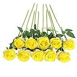 JUSTOYOU Rose Artificial Silk Flowers Bouquet Home Office Arreglos de Boda De Color Amarillo pálido (10 PCS)