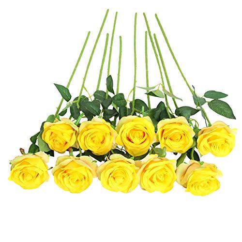 JUSTOYOU Bouquet di Fiori di Seta Rosa Artificiale Home Office Composizioni di Nozze Giallo Pallido (10 PZ)