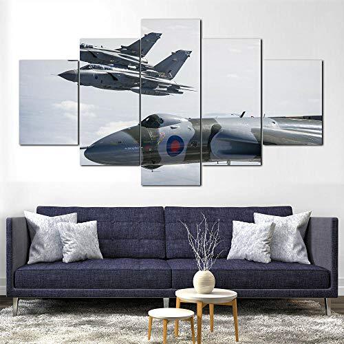 Cuadro sobre Impresión Lienzo 5 Piezas Jet Fighter Panavia Tornado 100x55cm Cuadro en Lienzo 5 Piezas Listo para Colgar Lienzos Moderno Arte Sala Decoración Regalo