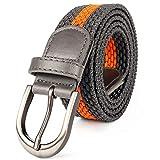 Cinturón elástico trenzado con pasador ovalado, color negro y satinado, con hebilla cepillada, punta de extremo de piel con punta de lazo