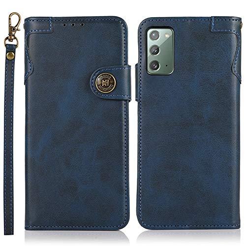 Happy-L Funda compatible con Samsung Galaxy Note 20, funda de piel tipo cartera [ranura para múltiples tarjetas] [muñeca de mano] cierre magnético protección completa TPU teléfono funda (color: azul)