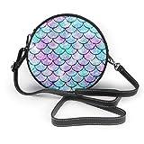 BAODANLA Bolso redondo mujer Shoulder Bags Women Round Bags Fondo De Cola De Sirena Crossbody Leather Circle Bag