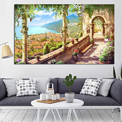 wZUN Impresión en HD Abstracto Retro Lago construcción Paisaje Pintura al óleo sobre Lienzo sofá Moderno Cartel Arte Sala de Estar Imagen de Pared 40x70cm