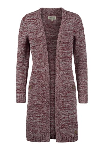 DESIRES Philetta Damen Lange Strickjacke Cardigan Grobstrick Winter Longstrickjacke, Größe:S, Farbe:Wine Red Melange (8985)