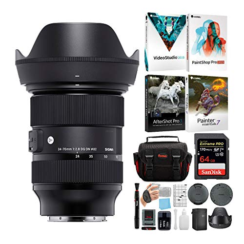 Sigma 24-70mm f/2.8 DG DN Art Zoom Full Frame E-Mount Lens with 64GB Extreme PRO SD Card and Advanced Travel Bundle (4 Items)