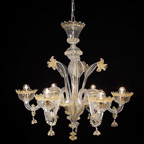Apollo Kronleuchter aus Murano-Glas 6-armig golden bernsteinfarbenen