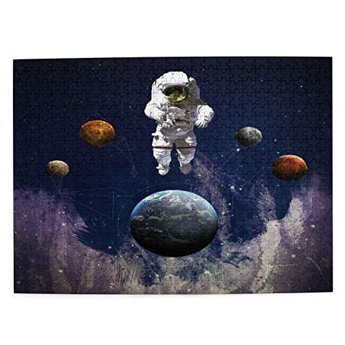 DAHALLAR Mittlere Größe Jigsaw-Puzzles 500 Stücke,Astronaut im Weltraum Das Thema Planet Globe Satellite Energy Eternity, Lustig Familienspiel Hängende Heimdekoration,20.4' x 15'