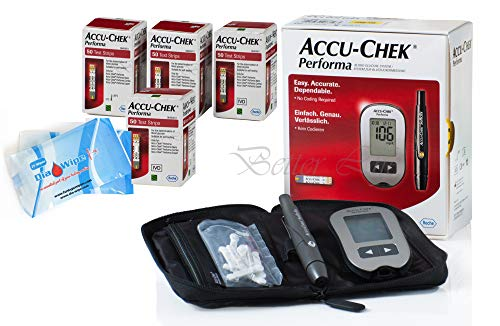 Accu Chek Performa 200 Test Strips and Glucose Monitor Tester Diabetes Bundle with Accuchek Softclix + Lancets + DiaWipes Very Long Expiration Dates Accu Check
