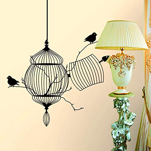 Sticker murals Beautifully Carved Bird cage Wall Stickers Living Room Study Home Decoration Detachable Vinyl Wall Stickers Windows