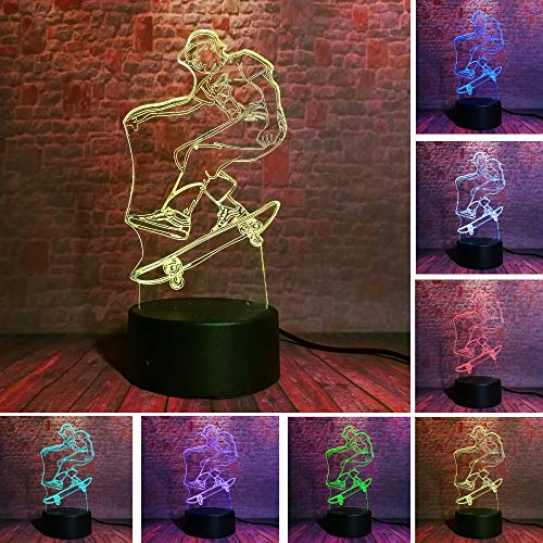 Crazy Extreme Sports Skateboard Skateboarding Smart Weihnachtsspielzeug 3D LED Nachtlicht USB Tischlampe Kinder Geburtstagsgeschenk Nachttisch Dekoration