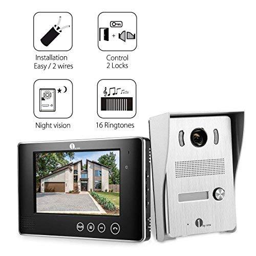 1byone 7 Zoll Farbe Wired Video Türsprechanlage, 2 Drähte Video Intercom System 1 Indoor Video Monitor mit 1 Outdoor HD Kamera Kits