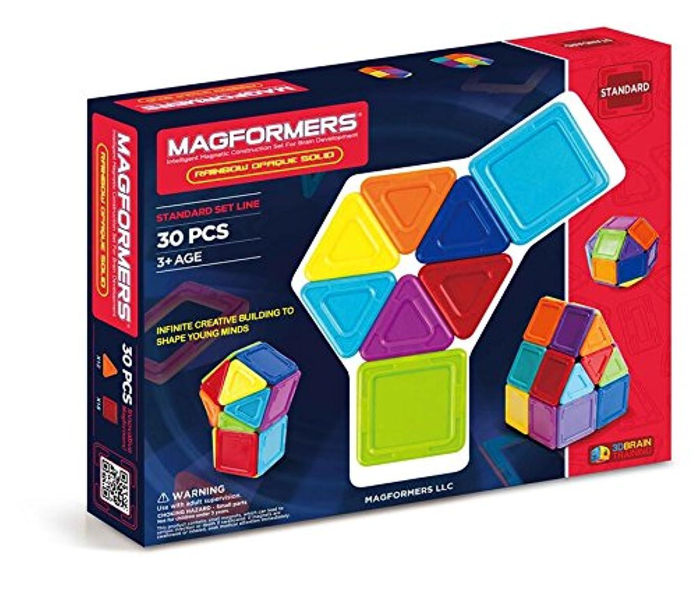 Magformers Rainbow Opaque Solid Set (30-pieces) Basic Magnetic    Building      Blocks, Educational  Magnetic    Tiles Kit , Magnetic    Construction  STEM Set