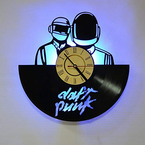 LittleNUM Disco de Vinilo Reloj de Pared LED Reloj de Pared Creativo de Daft Punk Band Vinilo Decorativo Reloj de Pared de Regalos para los Amigos como Usted,Battery Box