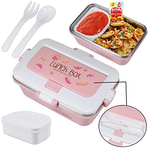 WISHKEY BPA Free Stainless Steel Lunch Box with 1 Medium Compartment & 1 Condiment Box & Separate Cutlery Container for Kids Or Adults(Pink)
