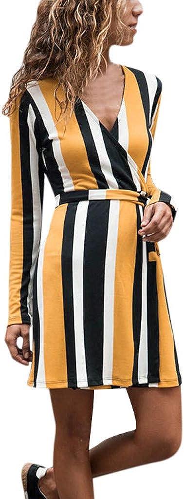 DIOMOR Sexy Deep V Long Sleevel Belt Dress Classic Stripe Sheath Dresses Casual Fashion Swing Skirt