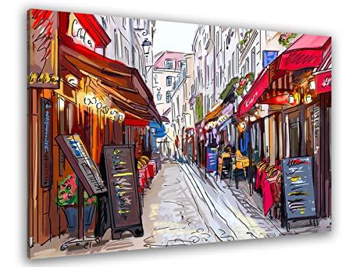 HXA DECO - Impresión sobre lienzo, decoración de pared, cuadro decorativo, cuadro moderno, cuadro de vida parisino de Montmartre, 80 x 50 cm