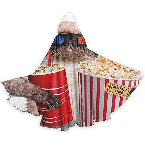 Niet geschikt voor volwassenen, kap met capuchon, carnaval cape, capuchon robe, kostuum omhanging, kat met popcorn en drink Devil Witch Wizard cape, vampierkostuum, party capuchonmantel
