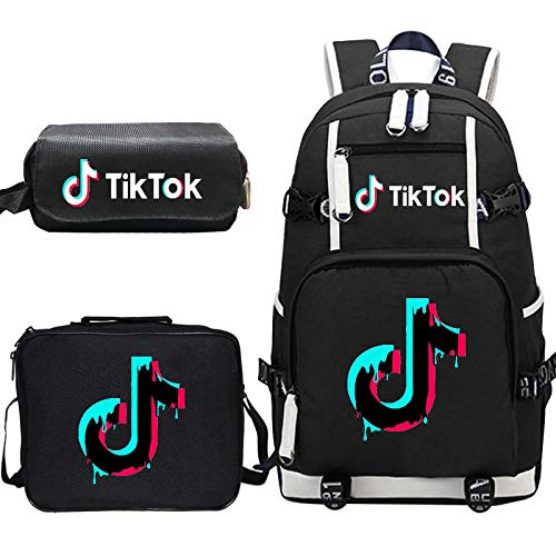 NLFD Wärmeübertragungsrucksack Schüler Schultasche großer Rucksack + Lunchpaket + Federmäppchen dreiteiliges Set-Muster 13_Dreiteiliger Anzug