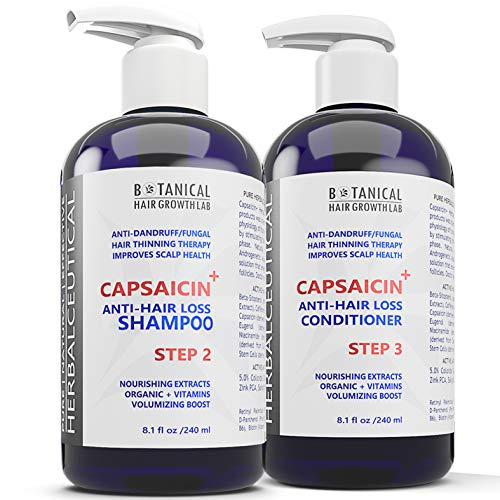 BOTANICAL HAIR GROWTH LAB - Anti-Hair Loss Shampoo and Conditioner - HerbalCeutical CAPSAICIN+ Oil-Free Formula (Step 2 & 3) - Hair Loss Prevention for Men & Women, Alopecia Postpartum DHT Blocker