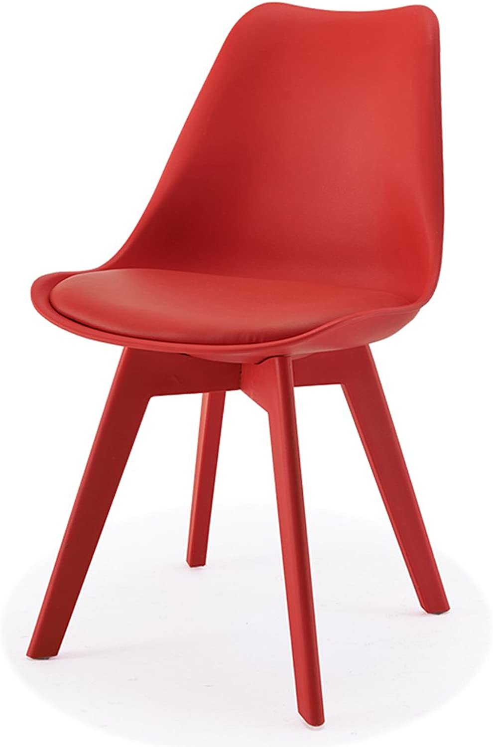 CJH Nordic Leisure Plastic Dining Chair Modern Minimalist Creative Eames Chair color Desk Chair Table and Chair (color   Red)