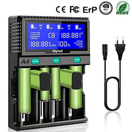 Akku AA Batterieladegerät, 9V ladegerät Batterien 18650 akkuladegerät LCD Battery Charger Schnell Aufladegerät für Wiederaufladbare Akkus AA/AAA/SC/C/D/9V NI-Mh/NI-CD14500 Batterie