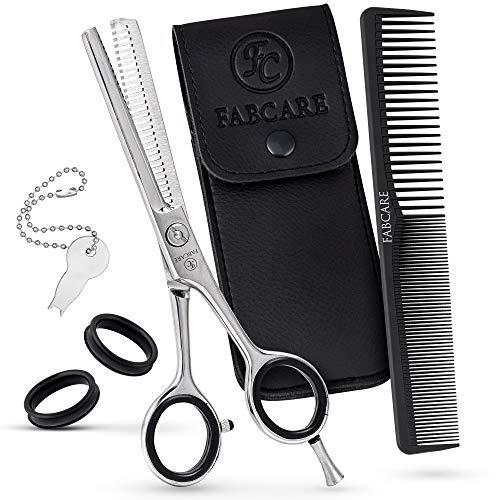FABCARE Profi Effilierschere einseitig mit Kamm und Etui - Ausdünnschere mit Präzisionsschraube - 5,5 Zoll - Extra scharfe Modelierschere aus hochfestem Messerstahl - Friseur Stufenschere für Haare