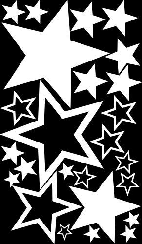 75 Stück MEGA-1A-Luxus Set Schaufenster Sterne Aufkleber WEISS, ø 45-7 cm, 70003, Fensterdekoration zu Weihnachten Fensterbild / Fensteraufkleber, Wandtattoo Deko Sticker, Autoaufkleber, Weihnachtsdekoration, Schaufenster In- und Outdoor Sternchen, Geschäft, Ladendeko, Stars, weiß