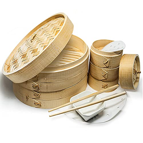 A2Z 10' Bamboo Steamer Basket - Makes Your Favorite Recipes - Sturdy Dumpling Steamer Basket Includes Liners - Multipurpose Bamboo Steamer 10 Inch + 4 Inch Set - Easy to Use Bao Steamer