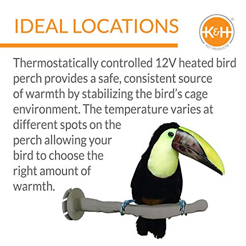 K&H PET PRODUCTS Thermo-Perch Heated Bird Perch Gray Small 1 X 10.5 Inches