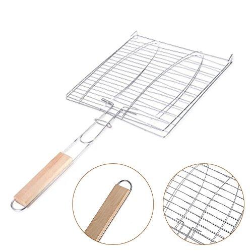 ZREAL Barbecue mesh grillrek BBQ clip houten handvat draagbaar voor vis groente camping