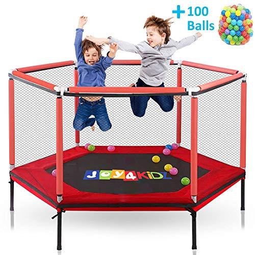 JOY4KIDZ – Trampolín para niños al aire libre y interior de cama elástica con recinto, bola hoja, para niños, niños pequeños, juguetes de cama elástica de 1 a 8 años