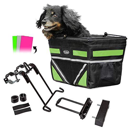 Pet-Pilot ORIGINAL Dog Bike Basket Carrier | 3 different color insert sets included