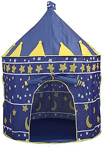Jiula Casa de Campaña para Niñas con Diseño de Castillo - 55 '' x 40 '' Tienda de Campaña Infantil Plegable con Bolsa de Transporte Playhouse, Azul