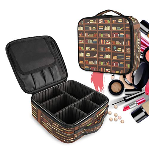 Travel Makeup Case Old Library Bookshelf Best Cosmetic Bag Box Professional Train Case Large Make Up Storage Organizer with Adjustable Dividers & Brush Section for Women Girls Hard Shell