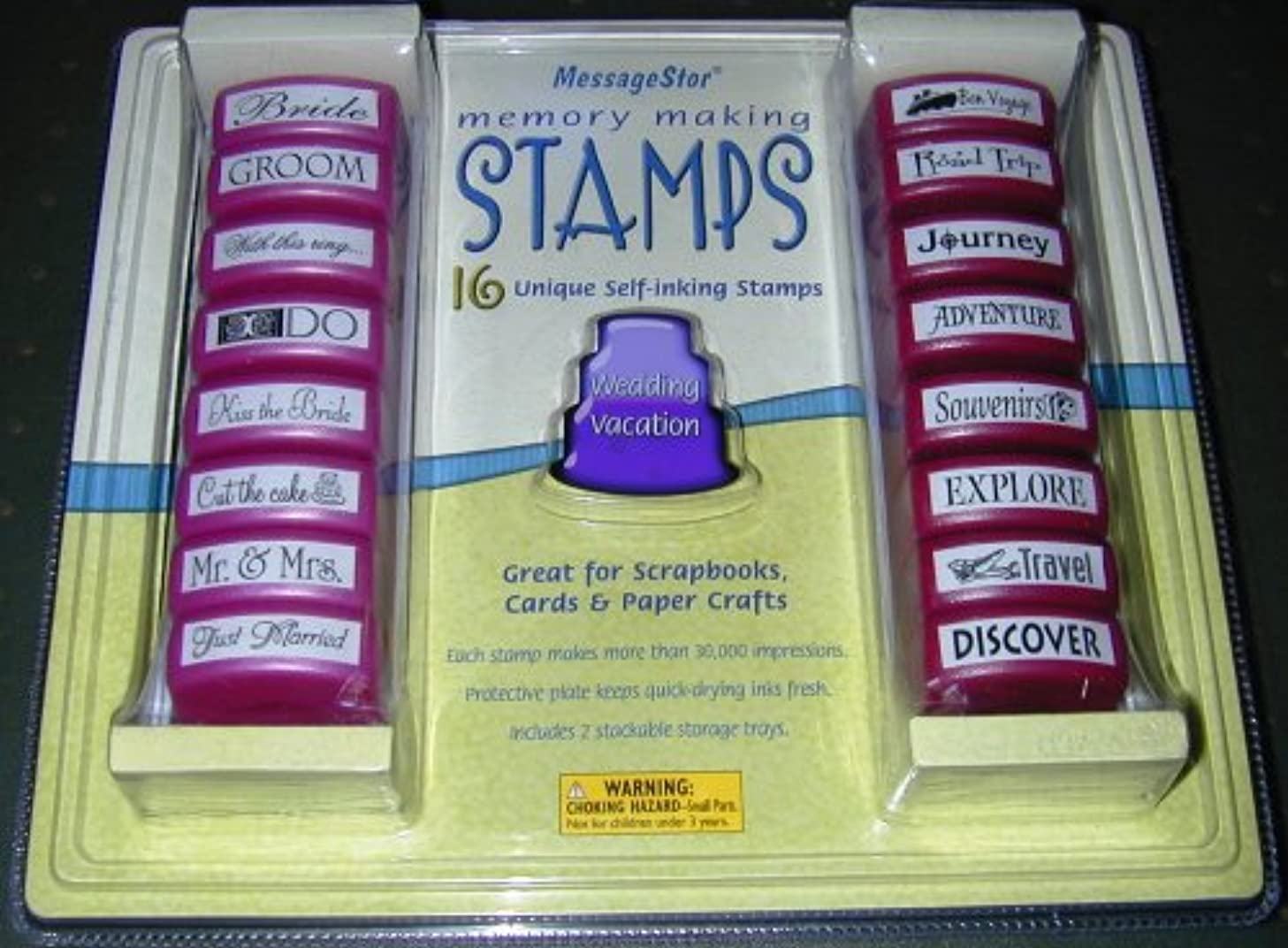 16 Unique Self-Inking Wedding and Vacation Memory Making Stamps by MessageStor (1 Set)