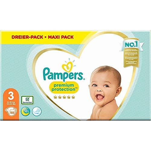 Pampers Größe 3 Premium Protection Baby Windeln, 105 Stück, Weichster Komfort Und Schutz (6-10kg)