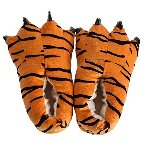 Zapatillas termicas - SODIAL(R) Zapatillas termicas mullidas Animal Unisexo Zapatos por Habitaciones Zapatos dedicados Zapatilla de Interior de Invierno de Suela Suave mullida (Patron de Tigre, M)