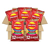 A combination of your favourite classic Walkers crisp flavours in 25 g bags Includes five mixed multipacks that each contain ready salted (three packs), cheese and onion (three packs), salt and vinegar (three packs), prawn cocktail (three packs) Keep...
