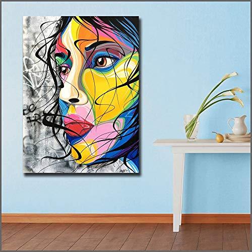 Puzzle 1000 piezas Pintura decorativa moderna de la cara de la belleza del arte pop de la pintada grande en Juguetes y juegos Gran ocio vacacional, juegos interactivos familia50x75cm(20x30inch)