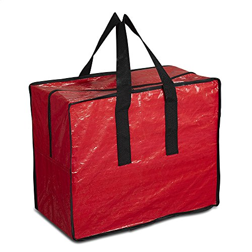 ProPik Holiday Ornaments Accessories Storage Bag Tear-Proof tarp 18 X 10 X 15 with Handles and Full Length Zipper(Red)