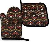 Ethnic Navajo Native American Southwestern Kitchen Oven Mitt Pot Holder Set, soporte de guantes antideslizantes resistentes al calor para barbacoa, cocina, horneado, parrilla, microondas