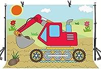 Zhyエクスカベーターをテーマにしたパーティーの背景7X5FT漫画の国フィールド子供男の子女の子誕生日ベビーシャワーケーキテーブルの装飾写真の背景YouTube写真の好意スタジオプロップカスタマイズ