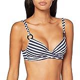 Women'secret, Parte Superior de bikini con foam y anillas, con abrochado trasero para Mujer, Multicolor (Blanco/Azul), 95B