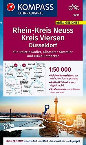 KOMPASS Fahrradkarte Rheinkreis Neuss, Kreis Viersen 1:50.000, FK 3211: reiß- und wetterfest (KOMPASS-Fahrradkarten Deutschland, Band 3211)